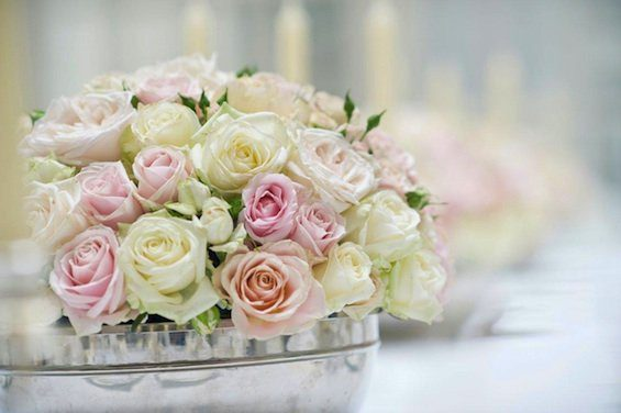 Rose dome wedding table centre